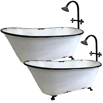 Vintage Enamel Bath Tub Set #5635 | Wildlife Creations